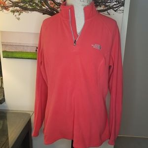 North Face red fleece pullover sweater